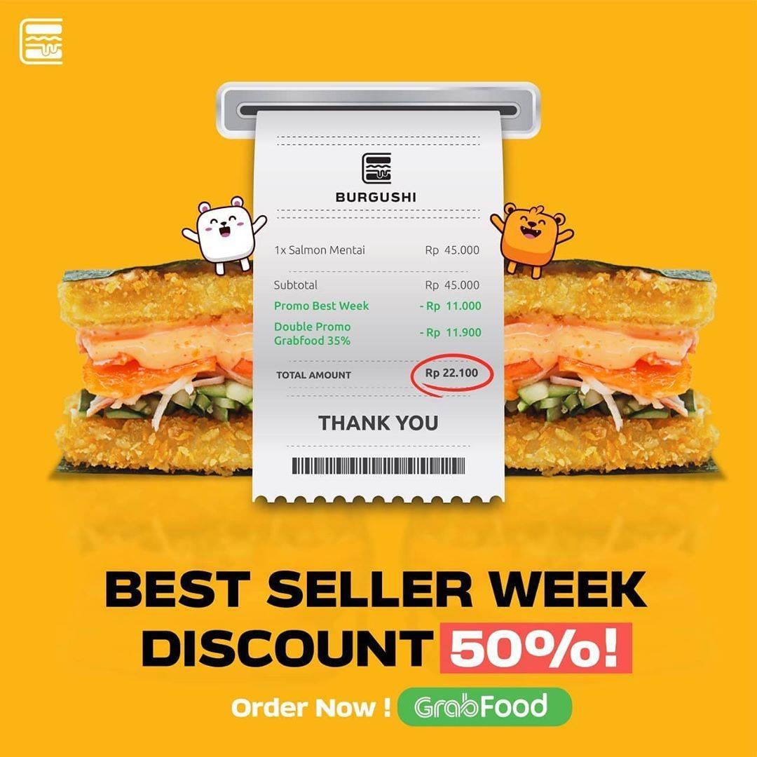 Diskon Burgushi Best Seller Discount 50% Off On GrabFood