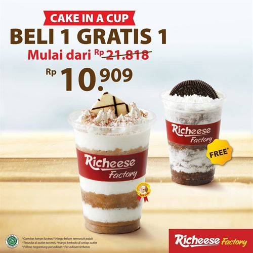 Diskon Richeese Promo Cake in a cup Beli 1 Gratis 1