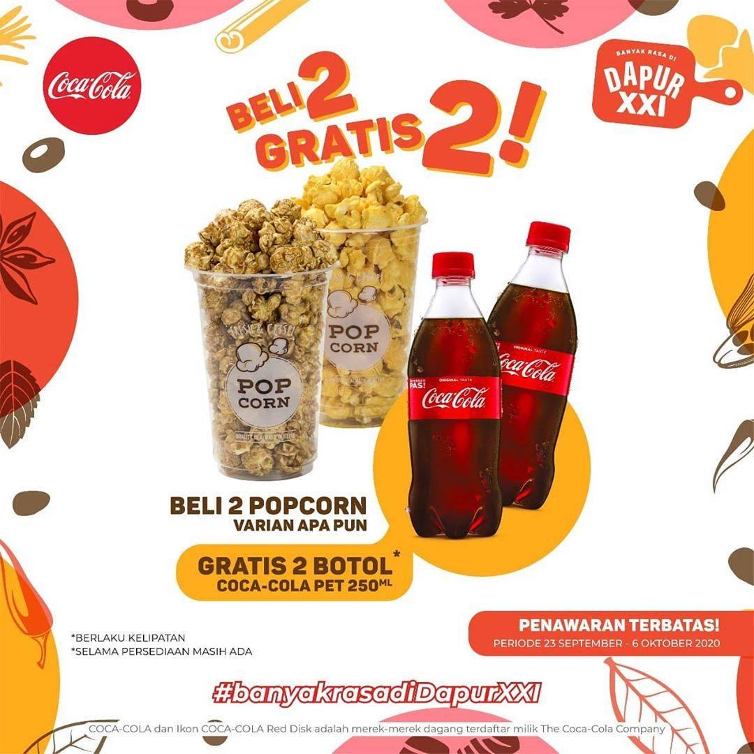 Diskon XXI Cafe Beli 2 Popcorn Gratis 2 Botol Coca Cola Pet 250ml