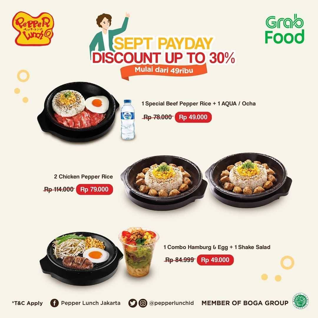 Promo diskon Pepper Lunch Sept Payday - Discount Up To 30% Off