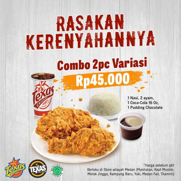 Diskon Texas Chicken Promo Combo 2 Pcs Variasi Hanya Rp. 45.000