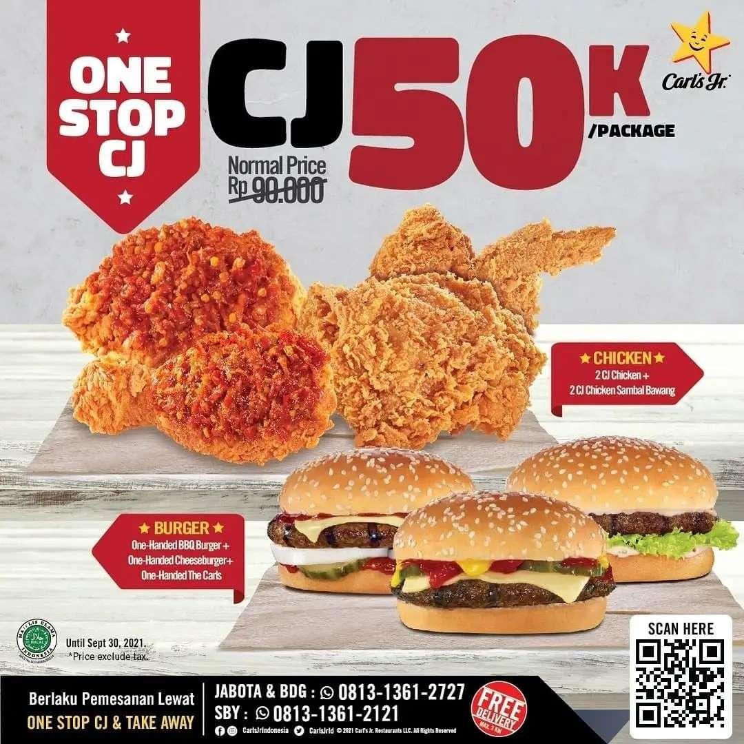 Diskon Carls Jr Promo CJ50K 3 Hanya Rp 50k