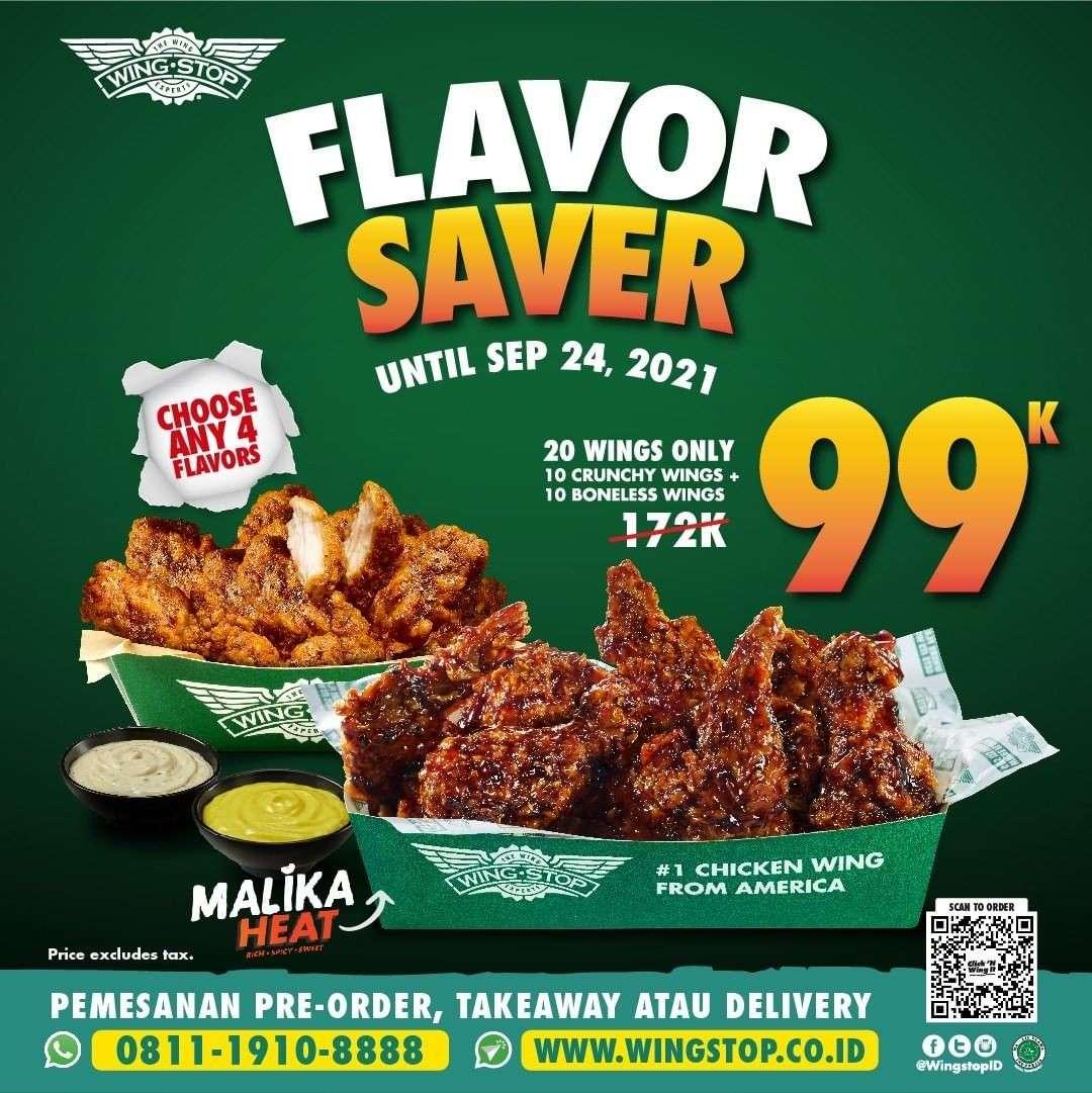 Diskon Wingstop Promo Flavor Saver 20 Wings Rp 99K