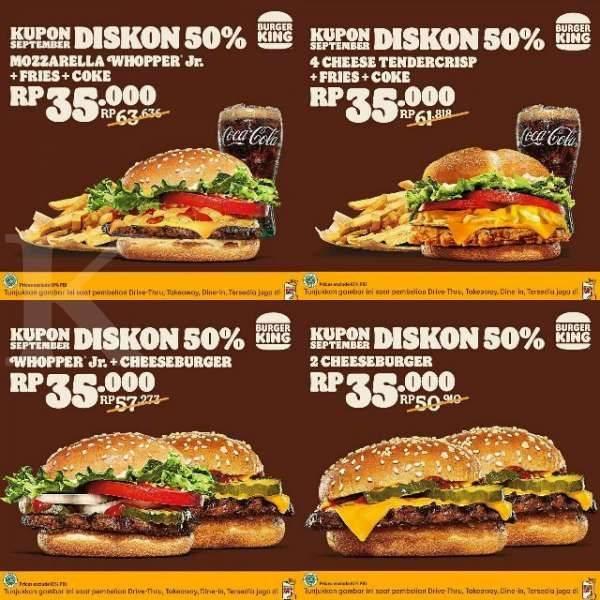 Promo diskon Burger King Kupon Diskon 50% Bulan September