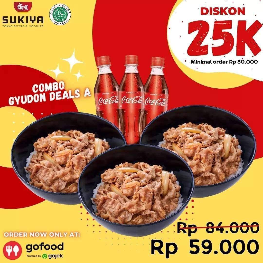 Diskon Sukiya Promo GoFood 3 Gyudon 3 Cola Hanya Rp 59.000