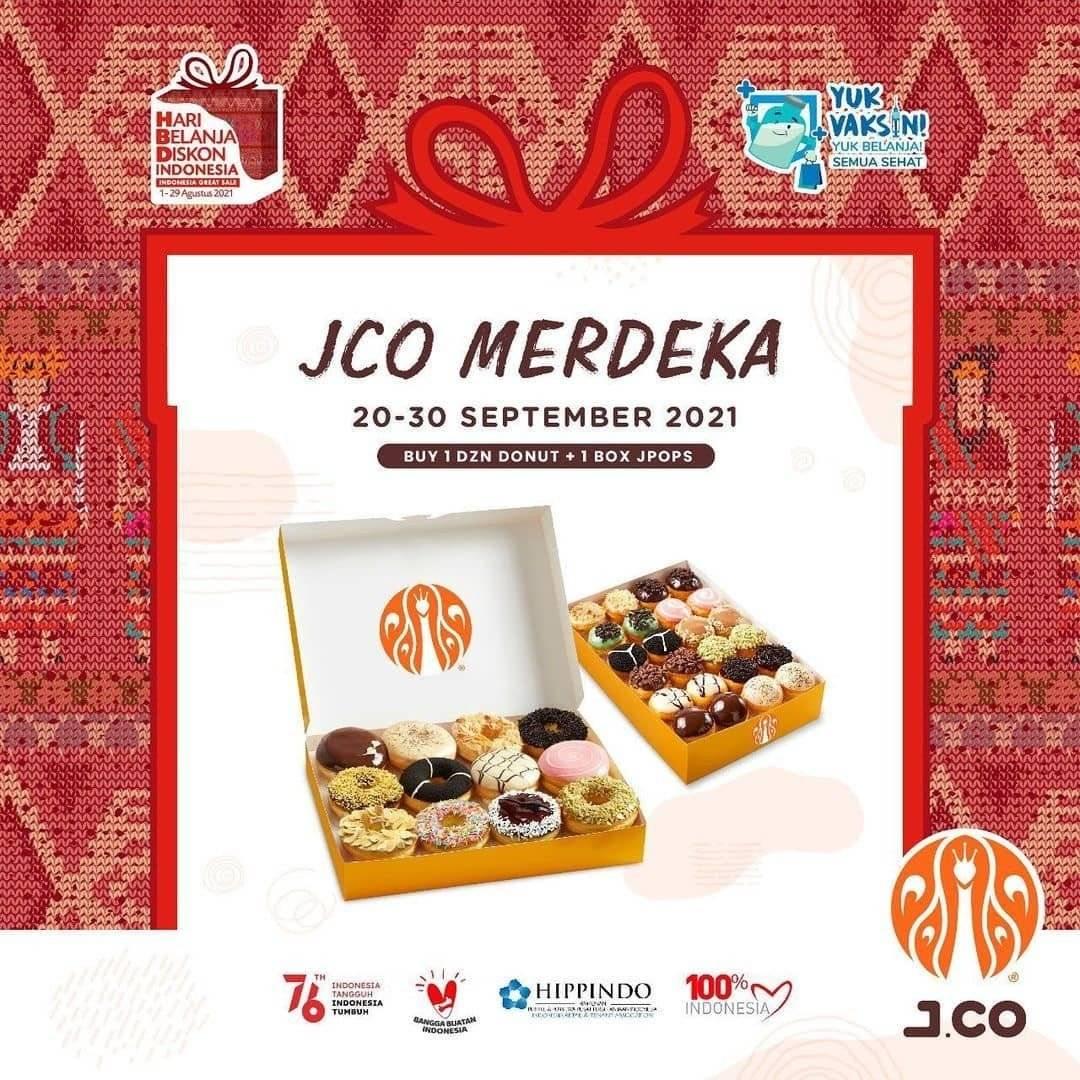 Diskon J.CO Promo Merdeka 1 Lusin Donut + 1 Box JPops Rp 115 Ribuan