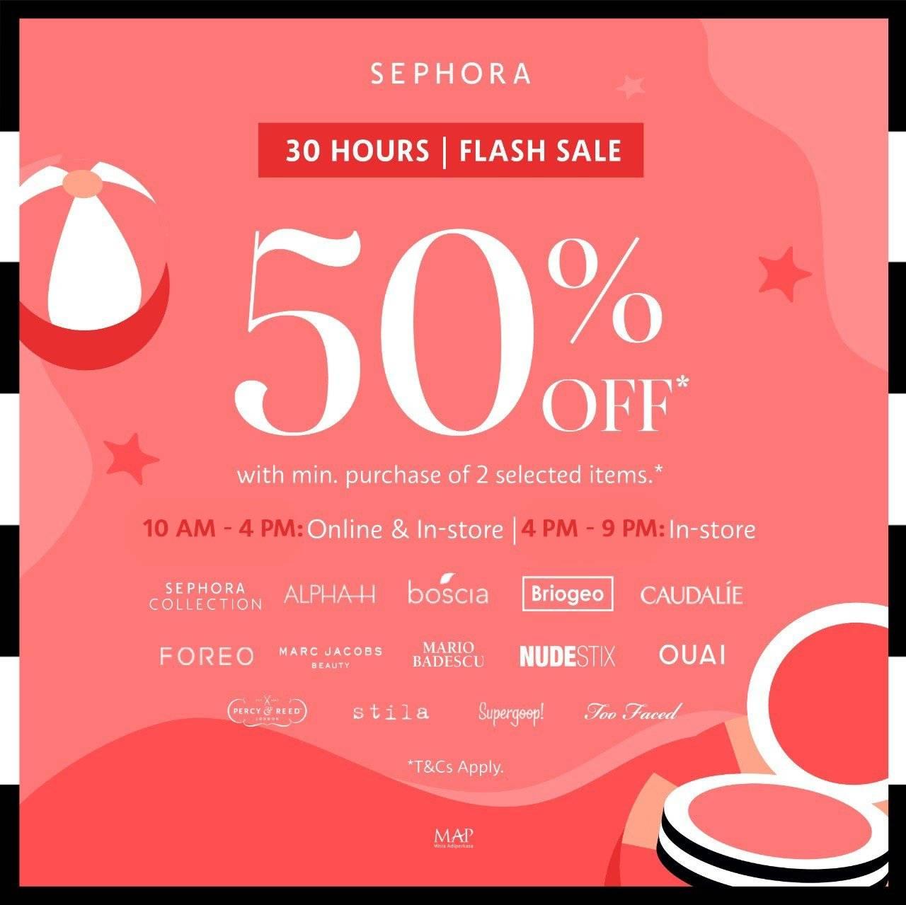 Diskon Sephora Promo 30 Hours Flash Sale Diskon s/d 50%