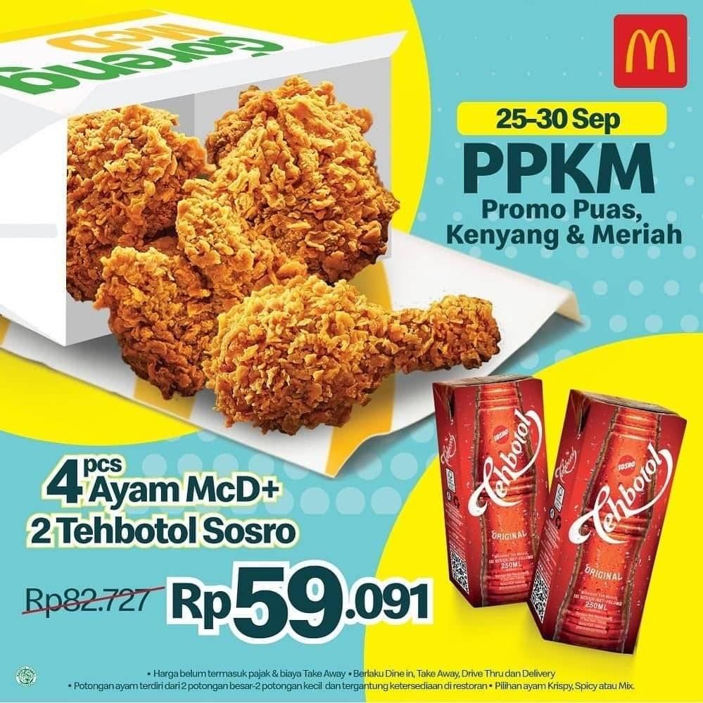 Diskon McDonalds Promo PPKM 4 Ayam + 2 Teh Sosro Rp 59 Ribuan