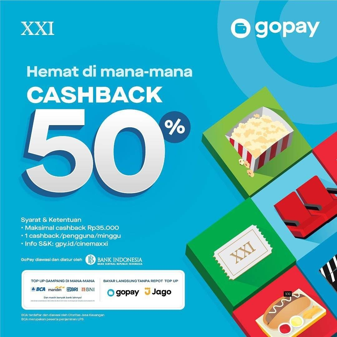 Diskon Cinema XXI Promo Cashback 50% dengan Gopay